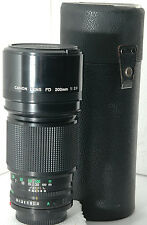 nice fast Canon FD 200mm f/2.8 telephoto lens, capped, filtered & cased
