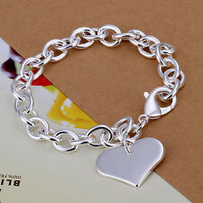 Fashion Accessories 925Sterling Silver Love Heart Womens Chain Bracelet H278+BOX