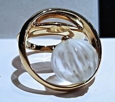 Authentic $403 LALIQUE Bague Cosmique Crystal Goldtone Ring T48 US 41/2 6715100
