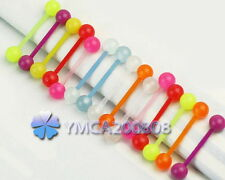 15 x Fashion Glow In The Dark Ball Tongue Bar Lip Rings Barbell Piercing Jewelry