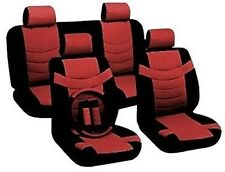 Car Seat Covers Accent Black Red Synthetic Leather Steering Wheel Set CS5