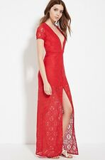 NWT New Forever 21 V-Neck Lace Maxi Dress Red Large L