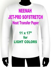 "INKJET IRON ON HEAT TRANSFER PAPER NEENAH JETPRO SOFSTRETCH 11 x 17"" - 25 PK"