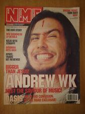 NME 2001 OCT 20 ANDREW WK RADIOHEAD APHEX TWIN OASIS