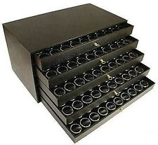 250 Gem Jar Case 5 Drawer Nugget Black Display Box Coin Storage Cabinet Jar Case