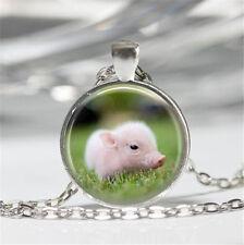1pcs Cute pig Cabochon Tibetan silver Glass Chain Pendant Necklace D#0264
