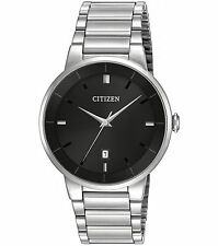 Mens Citizen Quartz Silver Stainless Steel Black Dial with Date Watch BI5010-59E