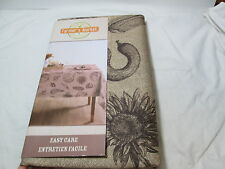 "New Farmer's Market Textured Tablecloth 60""x104 ~ Chocolate Brown Vegetables NIP"