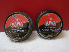 2x Kiwi Shoe Wax Can Polish Shine Leather Boot Black Wax Polish 2X40gms/1.41 Oz