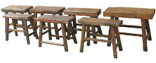 "26"" L Small bench stool antique solid hard wood hand made brown finish rustic"