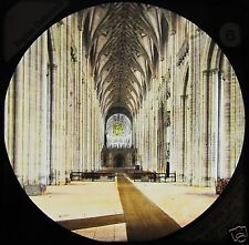 HAND COLOURED Glass Magic Lantern Slide WINCHESTER CATHEDRAL NAVE C1890 ..