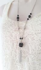 "28"" long silver tone &  black bead & tassel chain pendant necklace"
