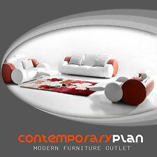 Contemporary Italian Design Franco Sofa with Adjustable Headrest White and Red