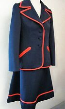 """Vintage Lilli Ann Skirt Jacket Suit Size Small 27"""" Waist Navy Blue Red #1107 H"""