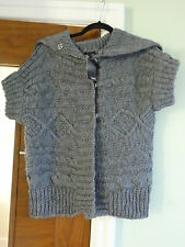 NEXT SIZE SMALL CHUNK KNIT SHORT SLEEVE CARDIGAN COLOUR DARK GREY  -NEW