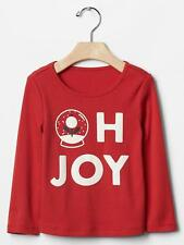 Gap Baby Girls Tee Top  Sz 5 Red Graphic Christmas Long Sleeve Sparkling Cotton