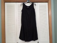 EILEEN FISHER BLACK LINEN TANK BUTTON FRONT A-LINE DRESS - SIZE SMALL - LOVELY C