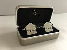 Rodium Plated Dalaco England .House cufflinks Sold / For sale ,For Estate agent,