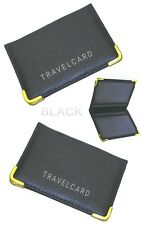 2 PCS BLACK TRAVEL CARD LEATHER OYSTER BUS PASS HOLDER RAIL CARD COVER CASE NEW