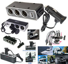 Triple Socket Car Cigar Lighter Adapter Cigarette USB Power Plug Mobile Phones