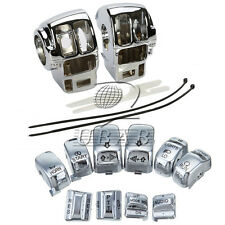 Set Chrome Switch Housing Cover+10 Cap for Harley Electra Road Tri Glide 96-2013
