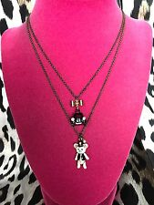 Betsey Johnson Vintage Royal Engagement White Teddy Bear Taxi Cab Necklace RARE