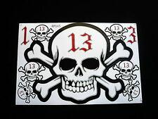 13, Lucky Number, Skull pegatinas, Set, 9 PCs. Decals, auto, Bike, snowboard
