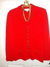 Exquisite Bright Red St. John Jacket w/Brass Studs and Buttons Sz 10