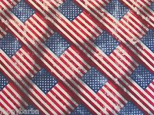 OLD GLORY FLAG WEATHERED on Made In USA 100% COTTON FABRIC Priced By The Yard