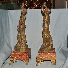 Paar Bronzen, Winzer und Winzerin bei der Weinlese, Marmorsockel Frankreich 1900