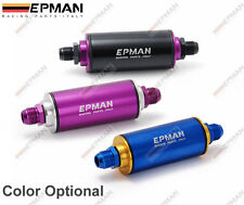 EPMAN RACING UNIVERSAL ALUMINUM FUEL FILTER WITH AN10 FITTINGS 100 MICRON 3 COLO