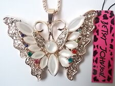 Betsey Johnson Rhinestone butterfly Pendant Necklace #Z160