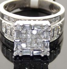 GLAMOROUS 14KT WHITE GOLD BRIDAL 2 1/6CTW PRINCESS-CUT DIAMOND RING SIZE 7.5