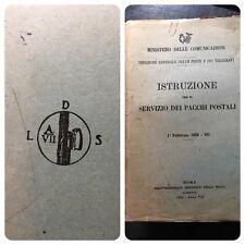 ISTRUZIONE SERVIZIO DEI PACCHI POSTALI 1929 PERIODO FASC IO LITTOR IO TIMBRI