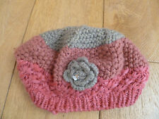 MONSOON ACCESSORIZE ANGELS PINK GREY FLOWER CORSAGE DIAMANTE BERET HAT ONE SIZE