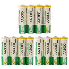 12 x AA 2A 3000mAh Ni-MH 1.2V Volt Rechargeable Battery Green BTY LR06 HR6
