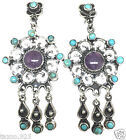 TAXCO MEXICAN STERLING SILVER VINTAGE STYLE AMETHYST TURQUOISE EARRINGS MEXICO
