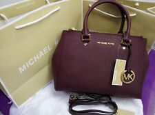 Genuine MICHAEL KORS Sutton Satchel Saffiano Leather handbag wine red  by DHL