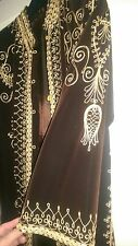 vintage brown velvet gold embroidered robe coat kaftan festival folk boho hippy