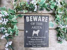 Umoristico diffidare degli Akita DOG Slate Porta Cancello Placca Segno