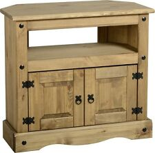 Corona Solid Mexican Pine Corner TV Unit Cabinet Rustic Entertainment Unit