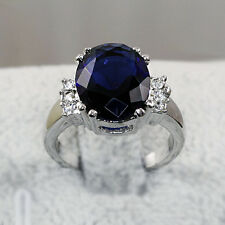 White Gold gp lab Sapphire 5.0ct Oval Cut Wedding Party Anniversary Ring Sz 5