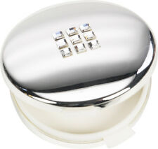 Ladies Pill Box/Tablet Holder 19260 Silver Plated with Crystal Finish