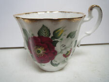 IMPERIAL BONE CHINA - BURGUNDY AND WHITE FLOWERS - TEACUP ONLY - KK