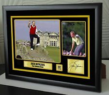 "Jack Nicklaus ""Golden Bear"" Golf Framed Canvas Tribute Print Signed ""Great Gift"""