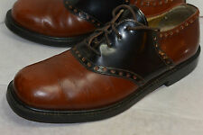 MEN'S J CREW SADDLE SHOES! BROWN & BLACK LEATHER! MADE IN ITALY! LINED! 9.5