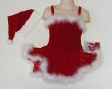Ms Santa Claus ICE FIGURE SKATING DRESS Red Christmas Cami Costume w Hat Child S