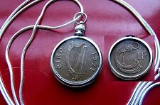 "IRELAND Harp &  Bird of Kells PENNY Bezel on a  30"" .925 Silver Snake Chain"