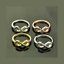 Wholesale Lot 24 Mixed Copper Gold Silver Tone Infinity Metal Rings Size 7