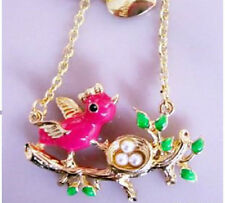 N349 BETSEY JOHNSON Flying Sparrow on Tree w/ Bird Nest Necklace US